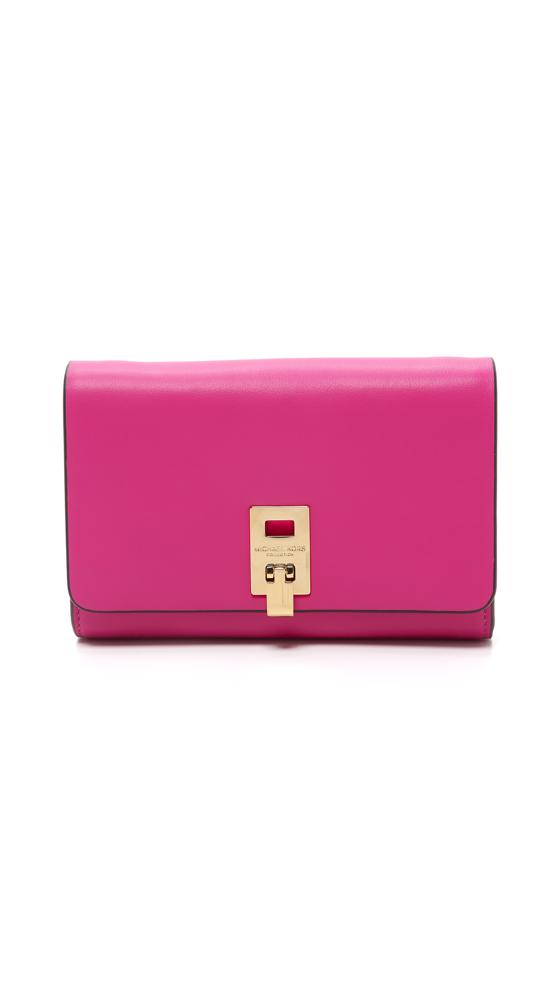 1756b817a646 Michael Kors Miranda Wallet With Strap - Geranium in Pink - Lyst