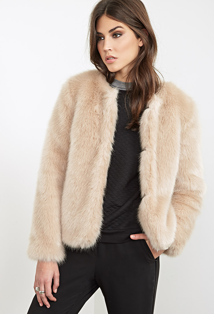 Forever 21 Collarless Faux Fur Jacket in Brown | Lyst