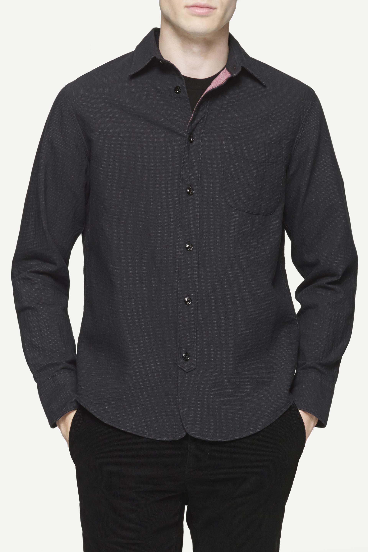 Rag Bone Three Quarter Placket Shirt In Black For Men Lyst