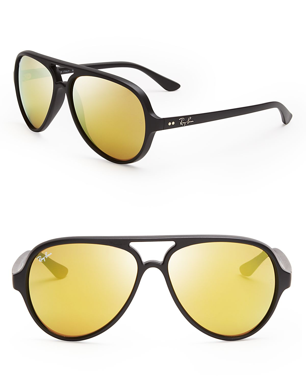 Lyst Ray Ban Matte Mirrored Aviator Sunglasses In Black