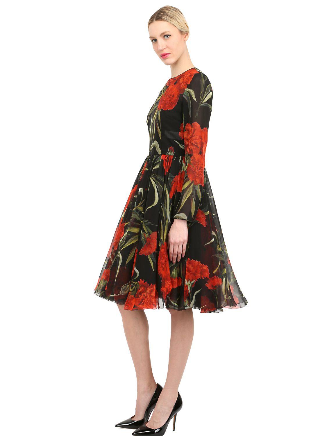 Dolce & Gabbana Woman Floral-print Silk-chiffon Midi Dress Black Size 40 Dolce & Gabbana D6XjoN