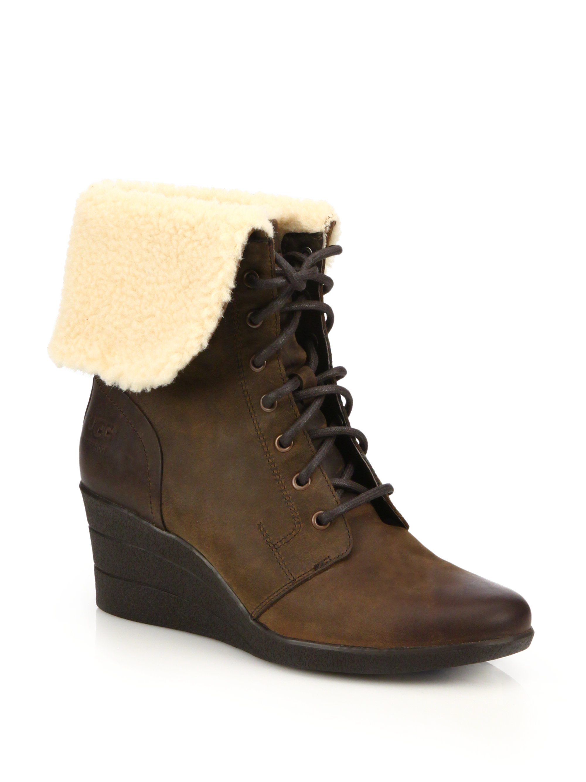 ugg uptown zea leather wedge boots in black lyst
