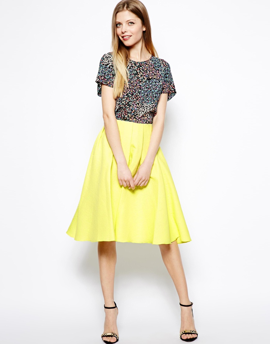 Asos Midi Skirt In Bright Jacquard in Yellow | Lyst