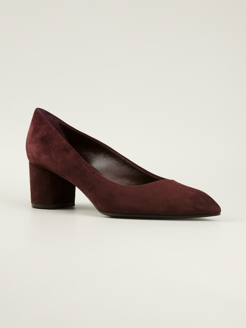 Casadei Low Chunky Heel Pumps in Red | Lyst