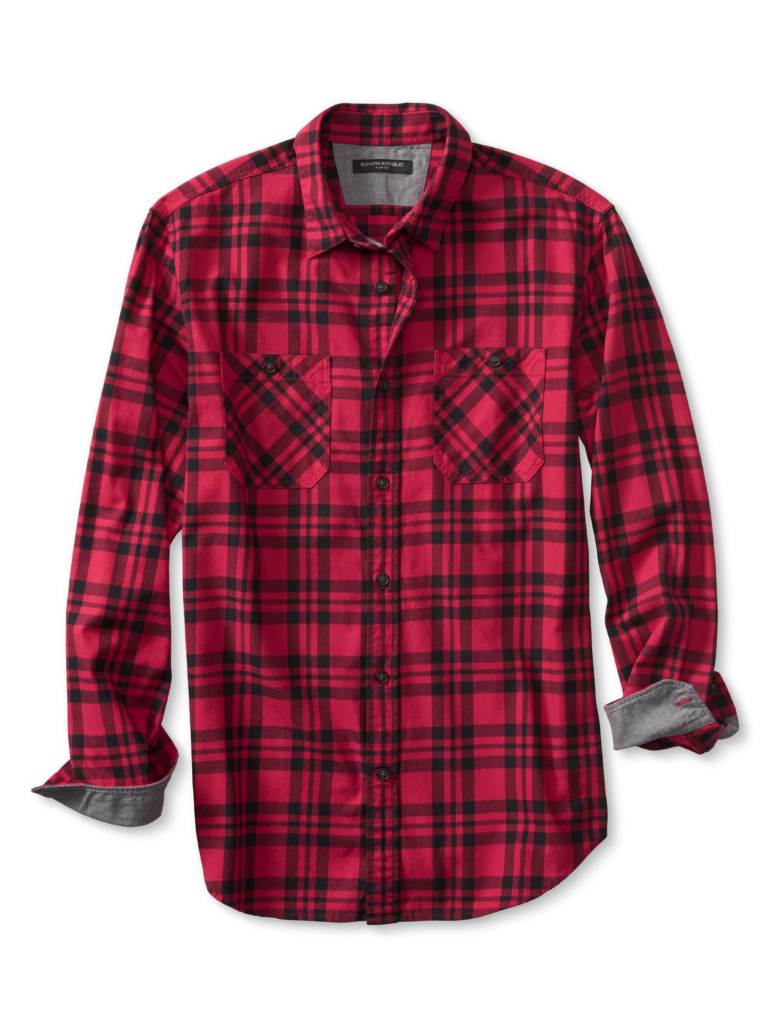 Banana republic slim fit red check flannel shirt in red for Mens slim fit flannel shirt