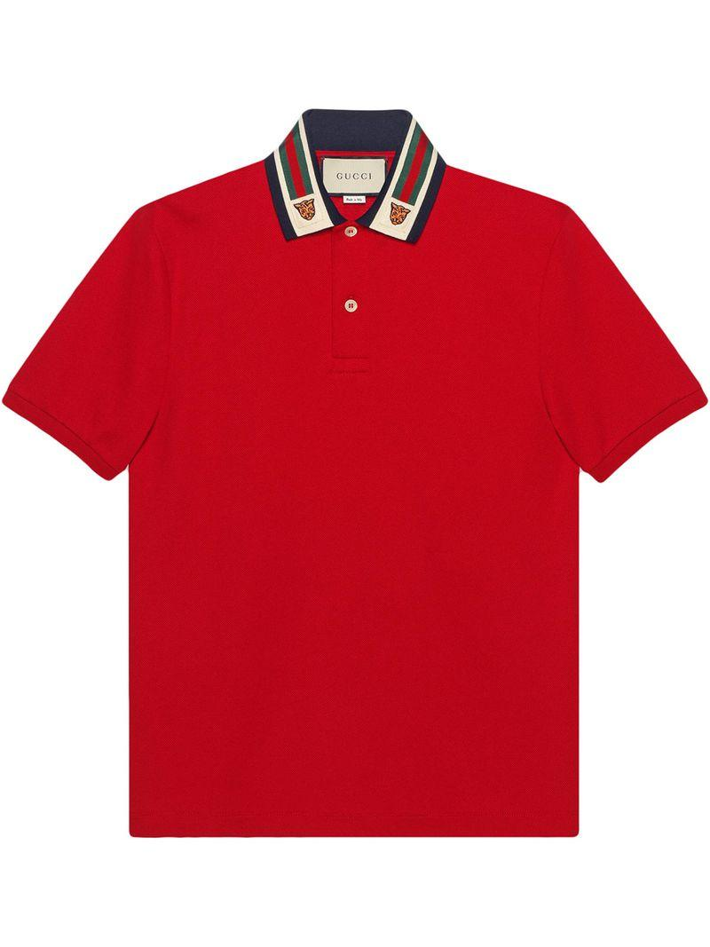 856797d3369 Lyst - Gucci Cotton Polo With Web And Feline Head in Red for Men ...