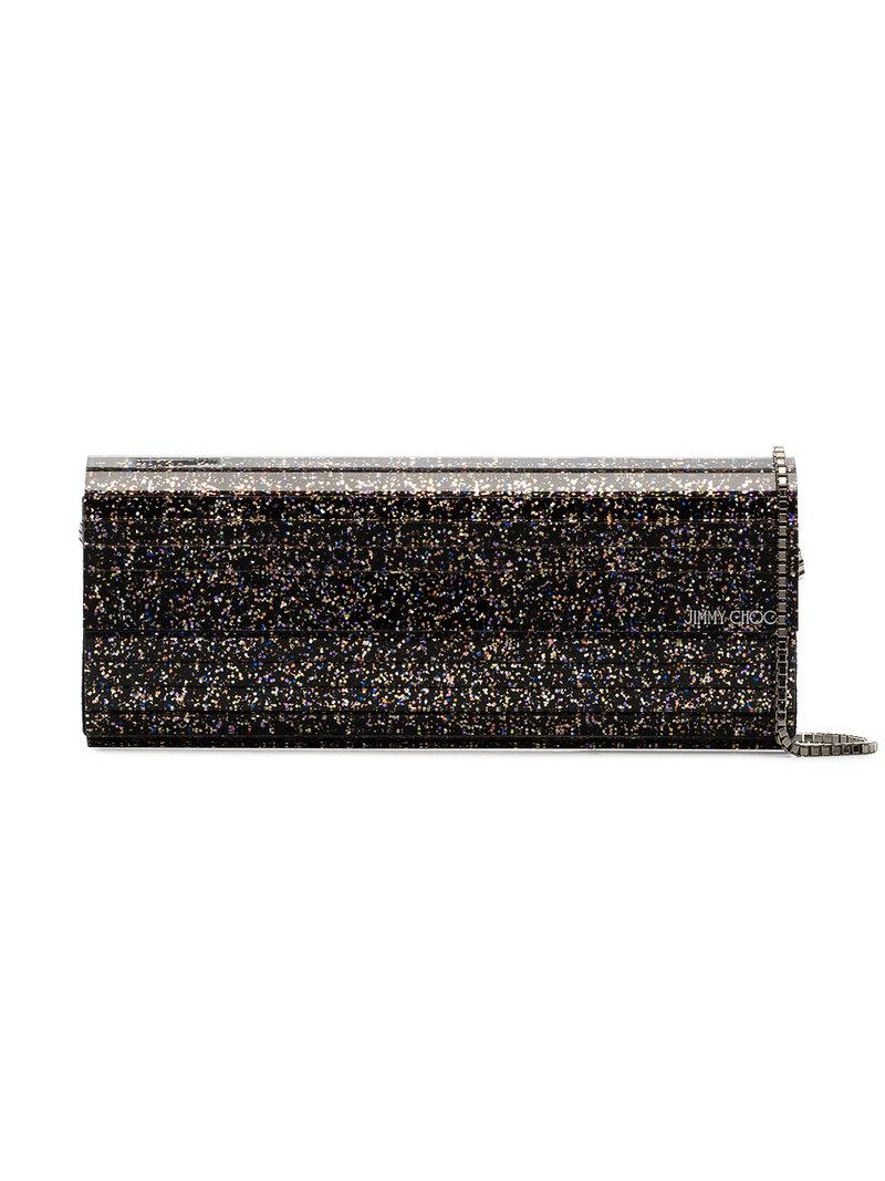 25632c8f2b81 Lyst - Jimmy Choo Black And Metallic Gold Sweetie Degrade Glitter ...