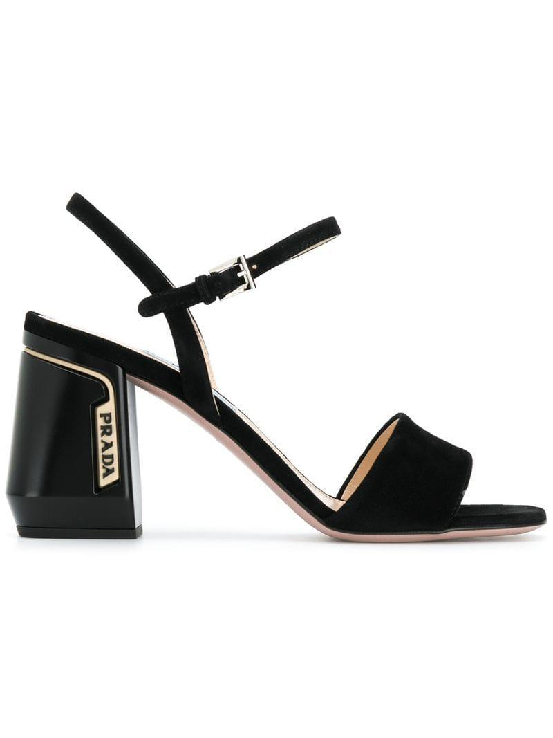 b84b850ab516 Prada - Black Block Heel Sandals - Lyst. View fullscreen