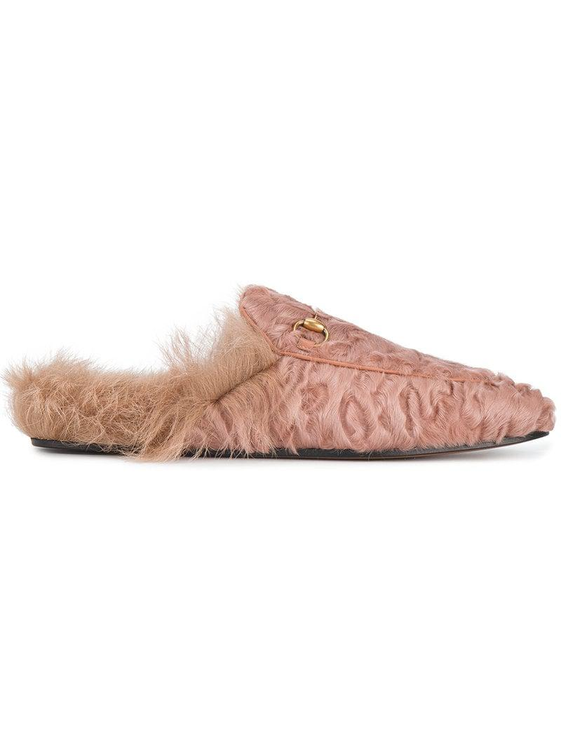 15642190355 Gucci Pink Princetown Horsebit Loafers in Pink - Lyst