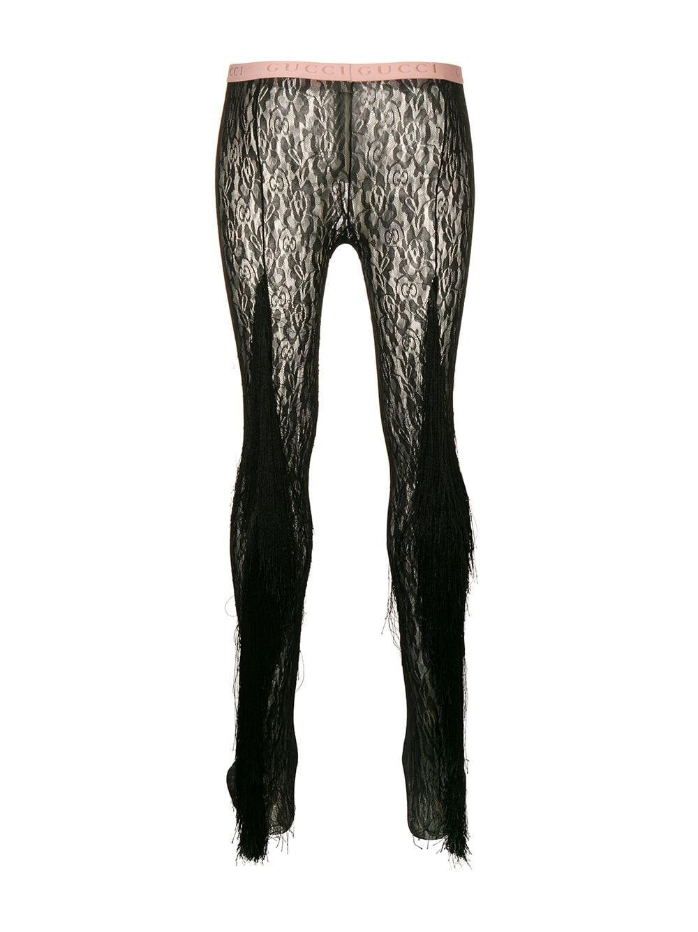 91ef3c9cf Gucci Fringed Floral Lace Tights in Black - Lyst