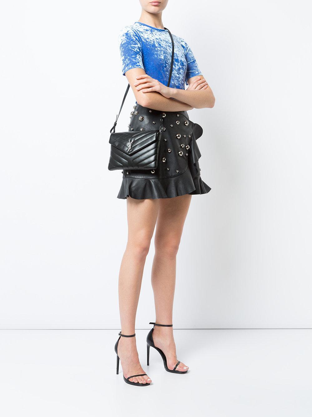 e6130b0f6a0 Saint Laurent Toy Loulou Flap Front Bag in Black - Lyst