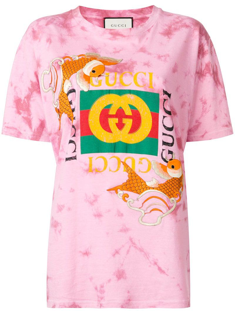 75c9ee28140 Gucci - Pink Fish Embroidered Logo T-shirt - Lyst. View fullscreen