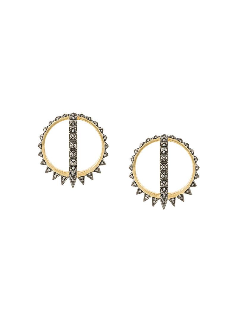 Official Cheap Online Noor Fares 18kt gold and diamond Radial Creoles earrings Discount 100% Guaranteed Buy Cheap 100% Guaranteed KjM2RsW