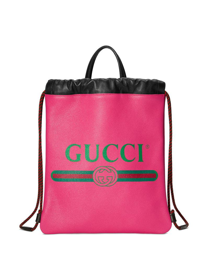 95a28924c85 Gucci - Pink Logo Leather Drawstring Backpack - Lyst. View fullscreen