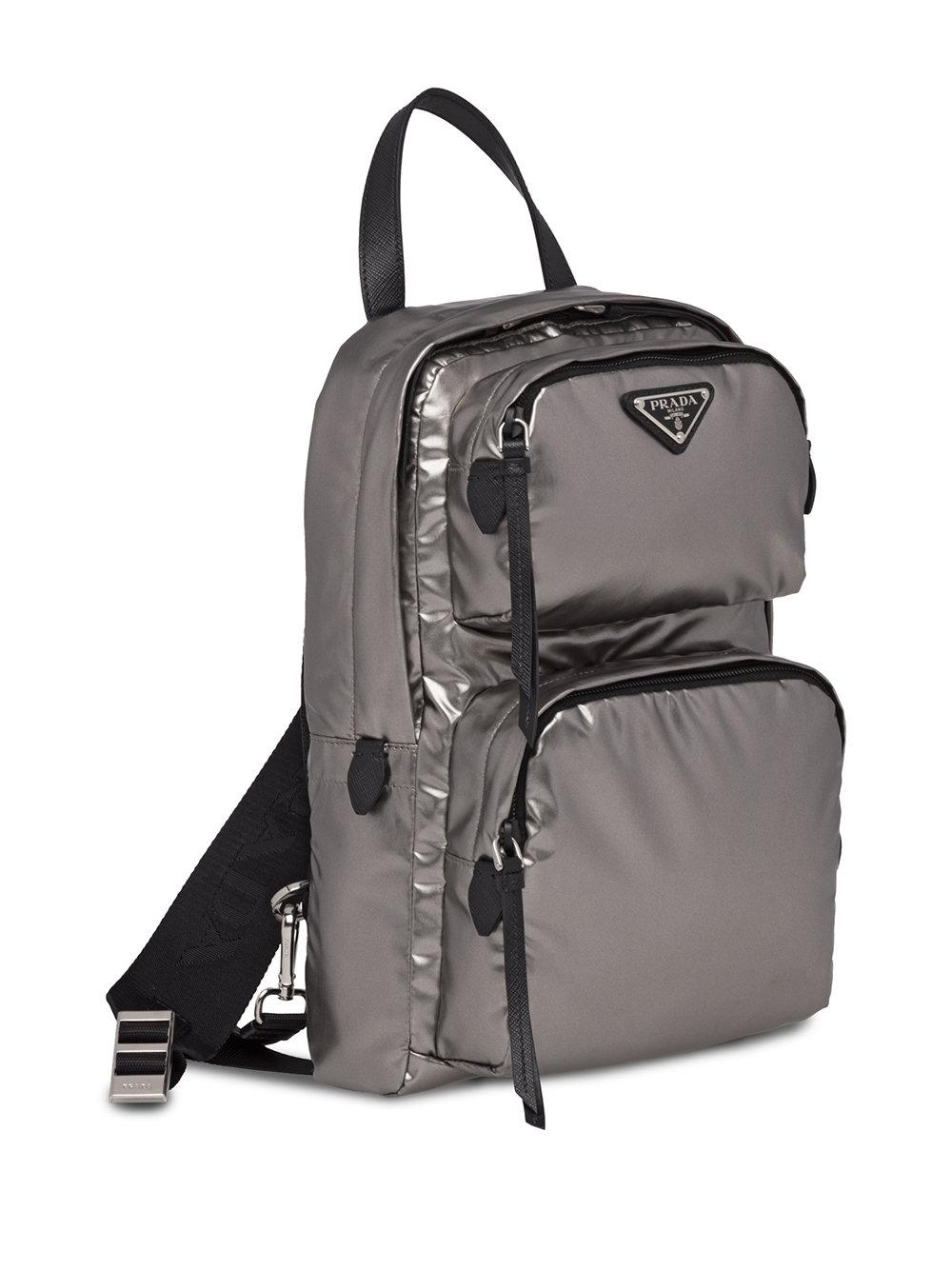 laminated logo backpack - Grey Prada bBL2JuEK4N