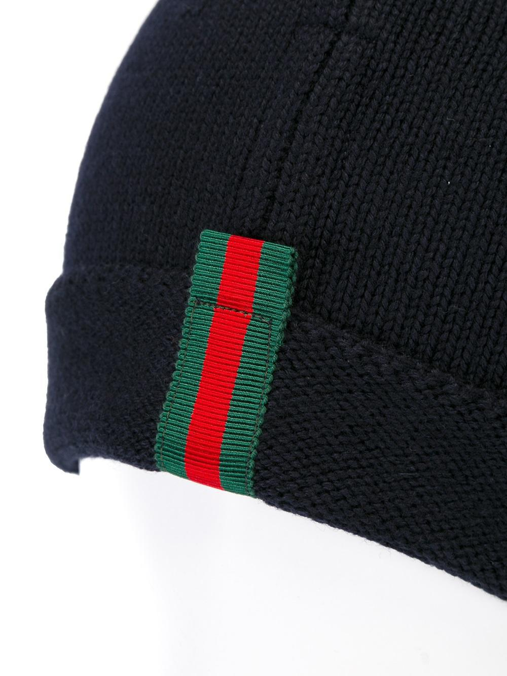 striped detailing beanie - Blue Gucci CI86tKeF