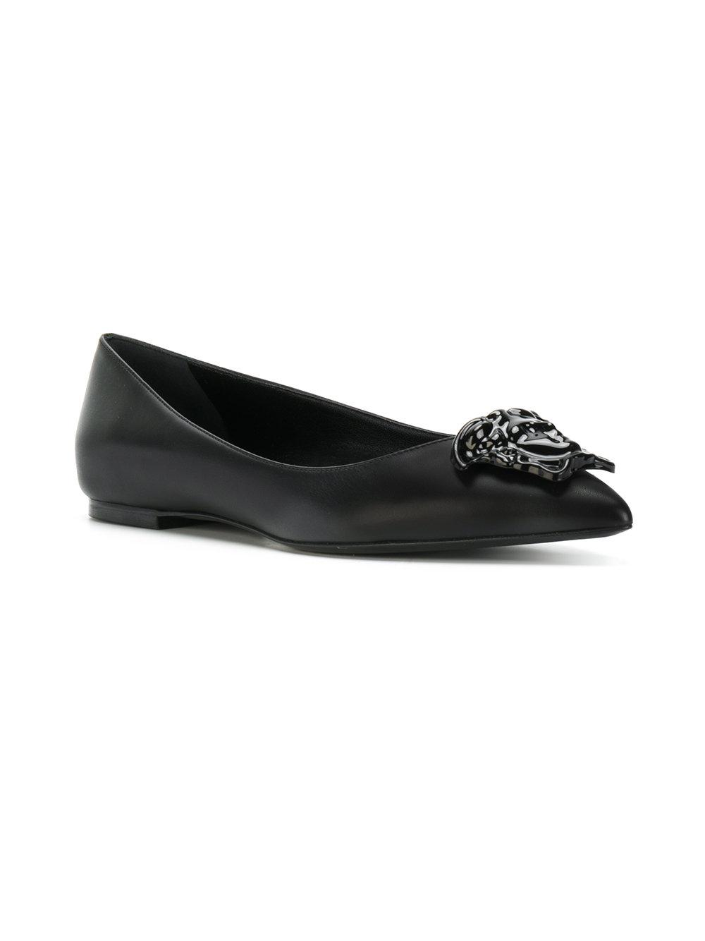 981ac9d0029a Lyst - Versace Medusa Palazzo Ballerina Shoes in Black