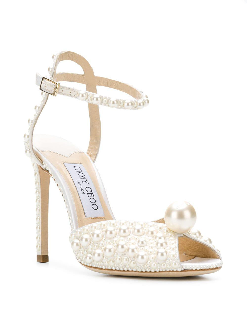 b9523bdb886e Jimmy Choo Sacora 100 Sandals in White - Save 44% - Lyst