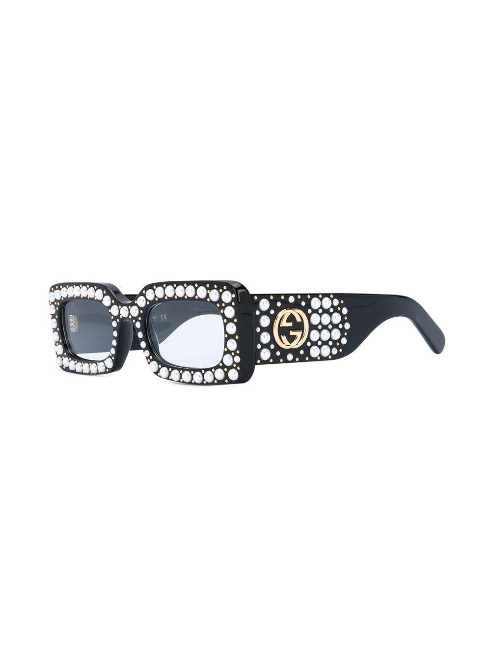 bbdf1dc72c Gucci - Black Pearl Embellished Sunglasses - Lyst. View fullscreen