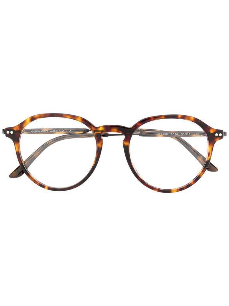 ab84ff57a8 Gafas redondas con efecto carey Giorgio Armani de hombre de color ...