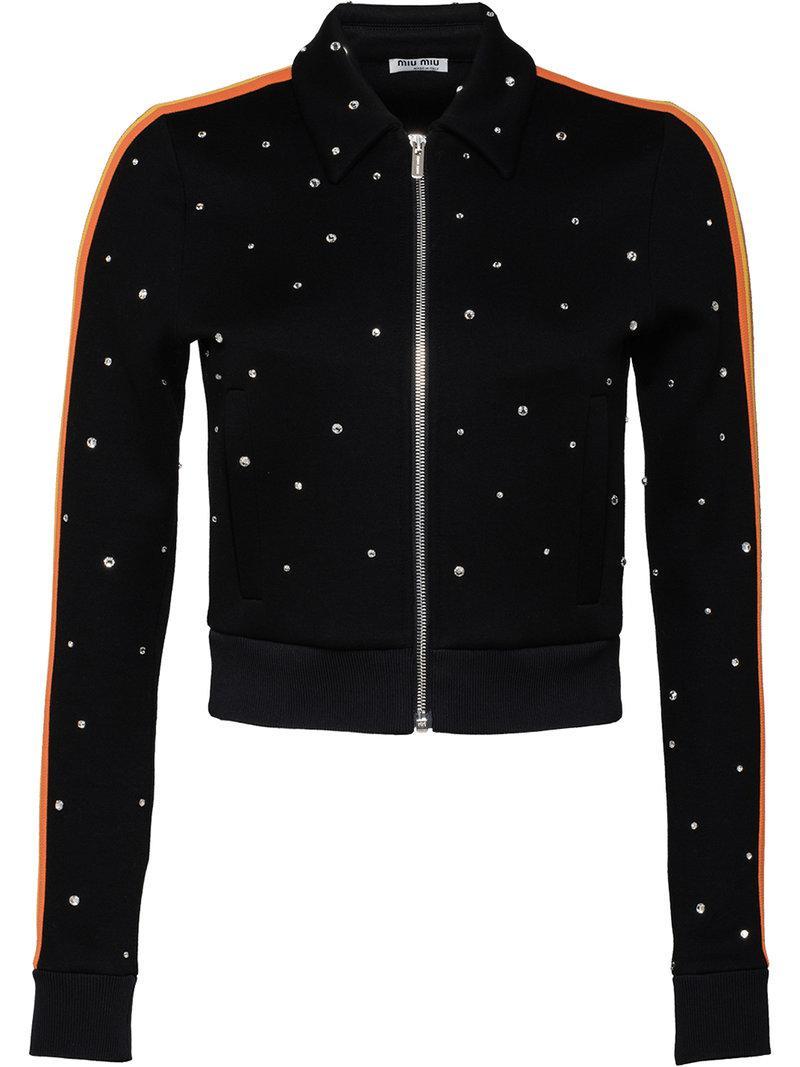 f4ba695d2dd7 Miu Miu Crystal-embellished Sweatshirt in Black - Lyst