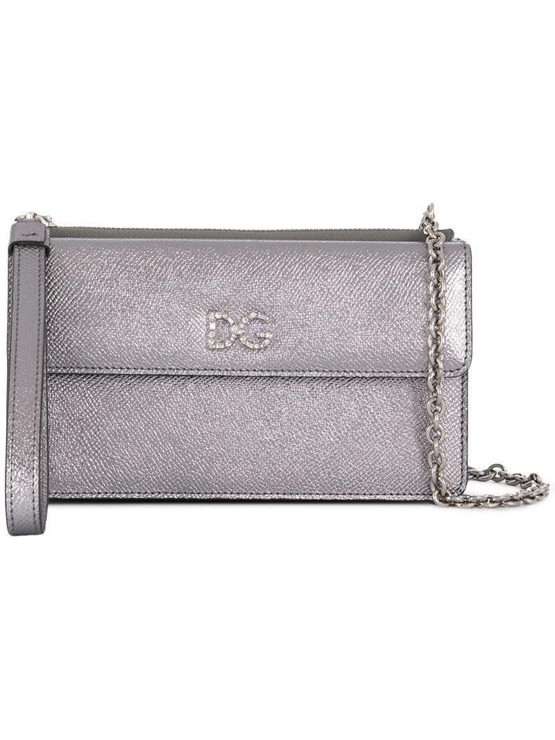 dcf493e436d8 Lyst - Dolce   Gabbana Crystal Embellished Dg Crossbody Bag in Metallic