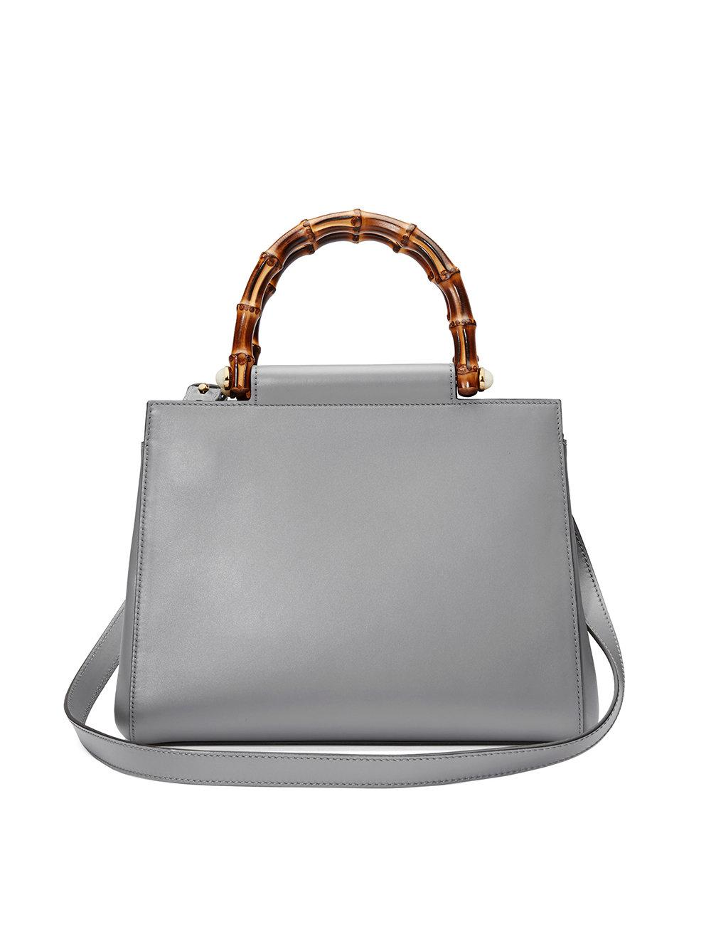 95a59aaaa0f Gucci Nymphaea Leather Top Handle Bag in Gray - Lyst