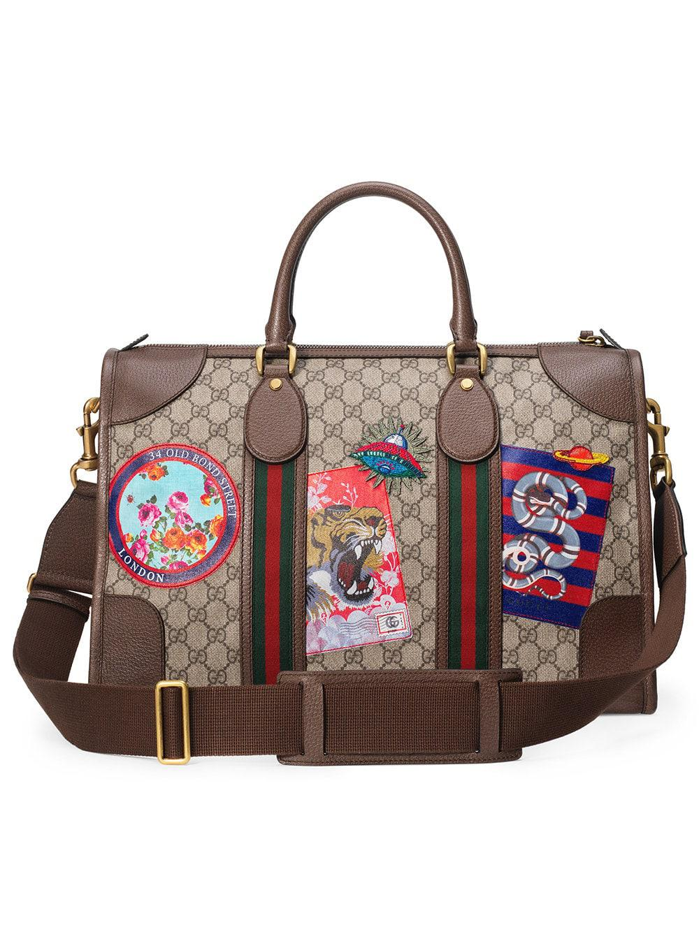 798e512edf8af4 Gucci - Multicolor Leather Courrier GG Supreme Duffle Bag for Men - Lyst.  View fullscreen