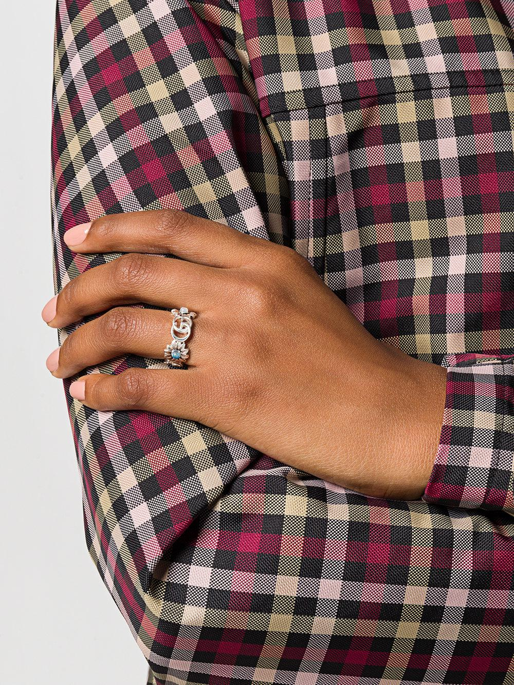 c213ff43e Gucci Double G Flower Ring in Metallic - Lyst