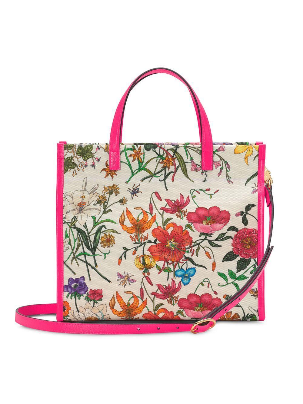 bd13cad634f2 Gucci - White Medium Flora Tote Bag - Lyst. View fullscreen