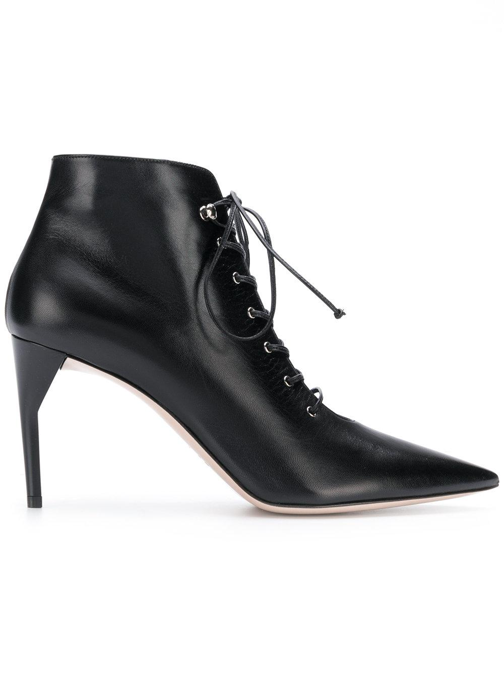 fe7eff473caa Lyst - Miu Miu Lace Up Ankle Boots in Black