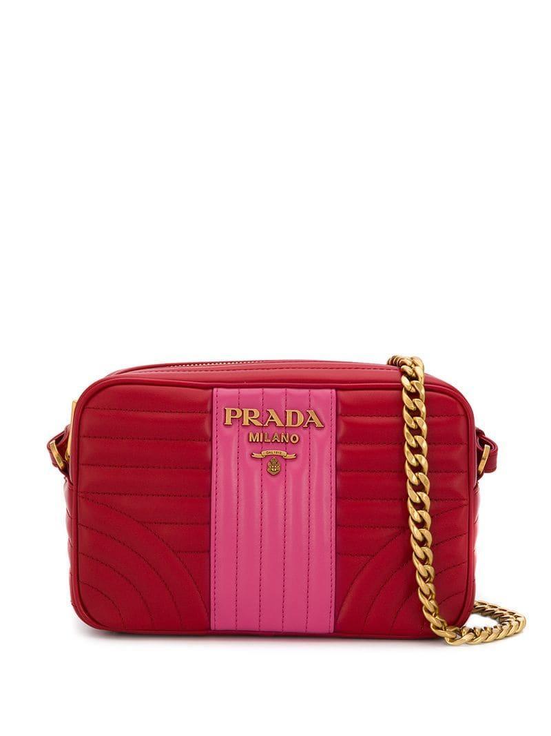 b8a065b0dd1f97 Prada Diagram Quilted Shoulder Bag in Red - Lyst