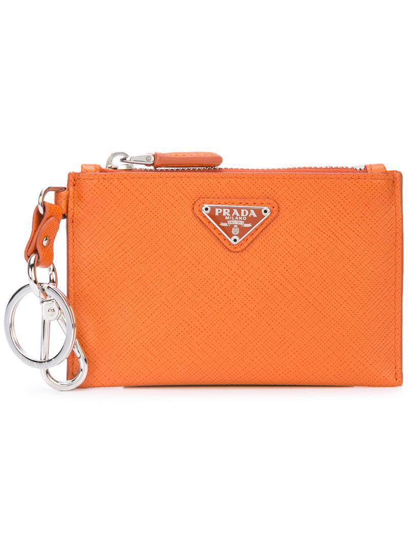 68c9c11d5775 ... uk prada. mens orange zipped card holder 9b597 becfd