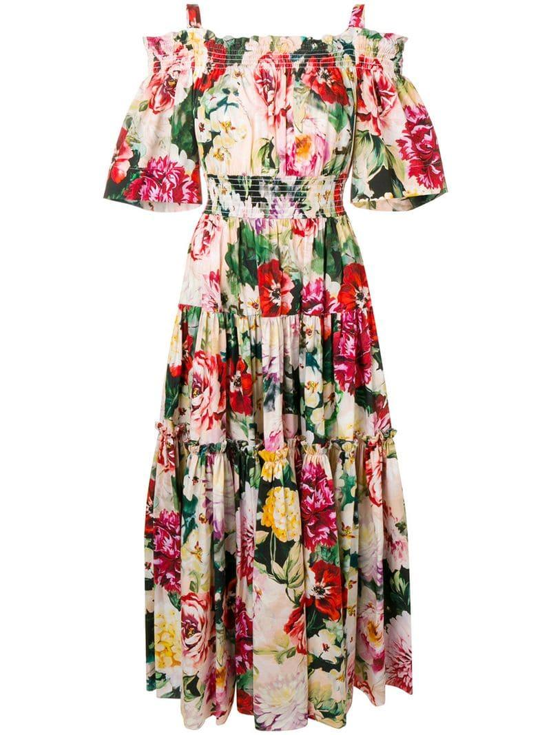 274c56ac Dolce & Gabbana Floral Print Maxi Dress in Green - Lyst