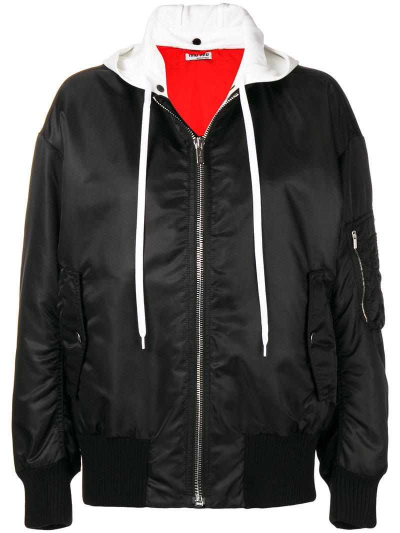 27da826957c5 Lyst - Miu Miu Hooded Bomber Jacket in Black