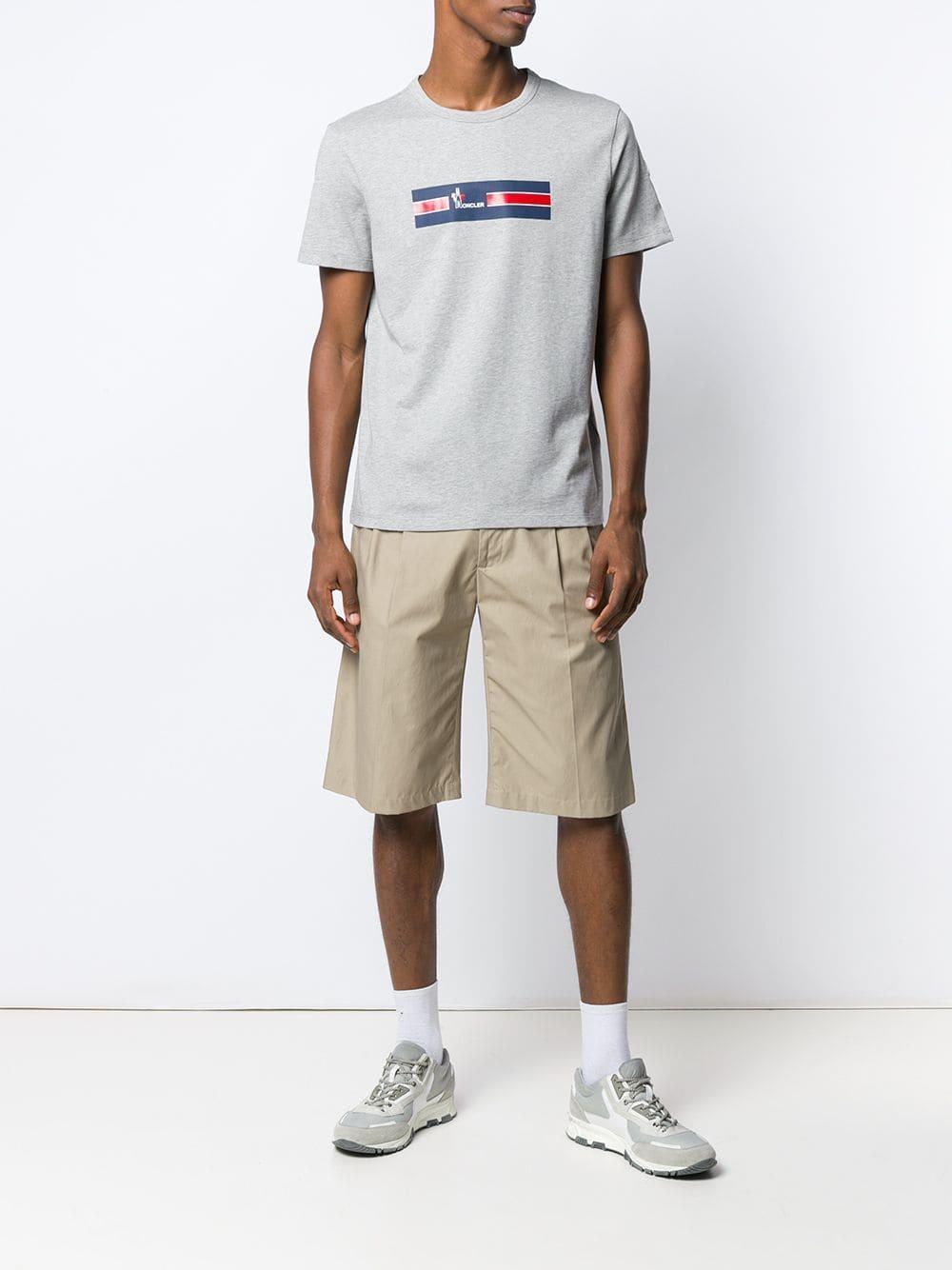 42c189eb30c4 Lyst - Moncler Crew Neck Logo T-shirt in Gray for Men