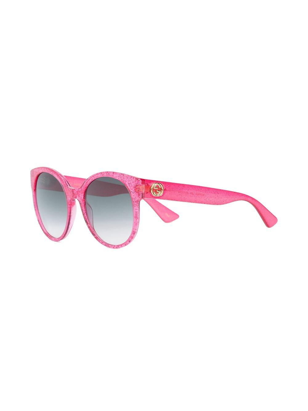fe905039d00 Gucci Round-frame Glitter Sunglasses in Pink - Save 7% - Lyst