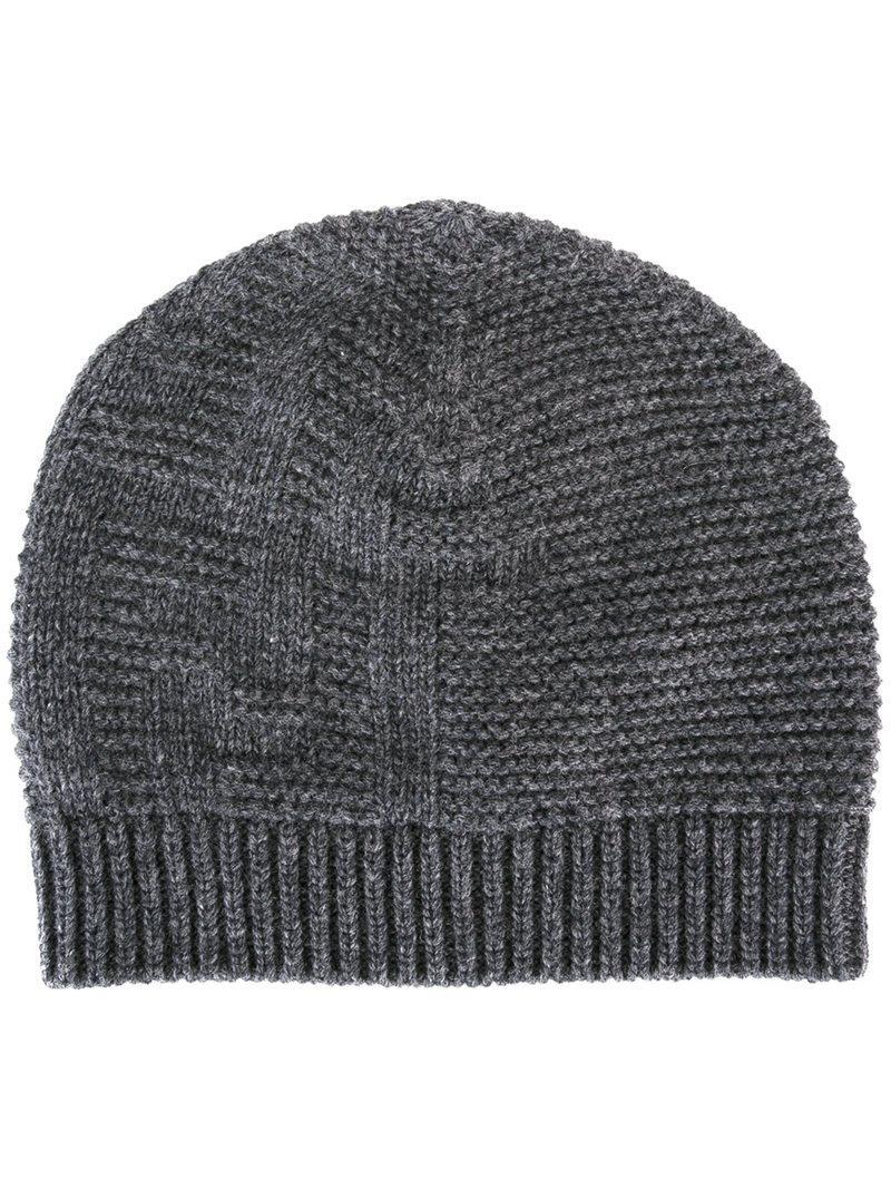 0c52e9a6feb Lyst - Fendi Knit Beanie in Gray