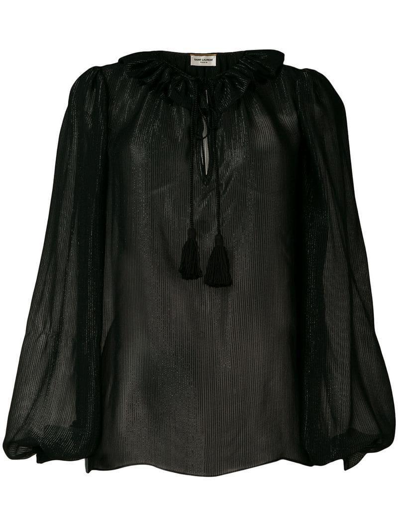 474a9c5436b3e7 Saint Laurent Lurex Ruffle Trim Blouse in Black - Lyst