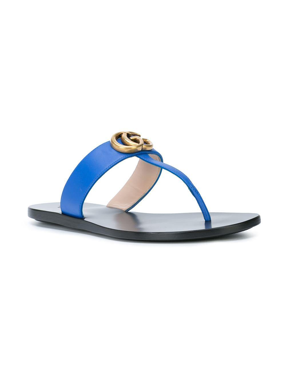 65598d2b538f Lyst - Gucci GG Thong Sandals in Blue
