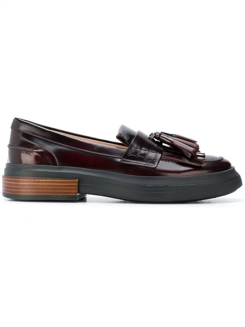 ffbb1d976d8 Lyst - Tod s Tasseled Flatform Loafers in Red