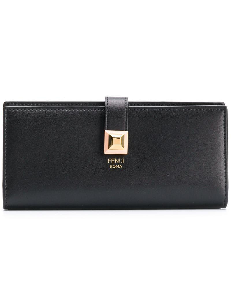 Lyst - Portefeuille continental à logo Fendi en coloris Noir fe8c8e259df
