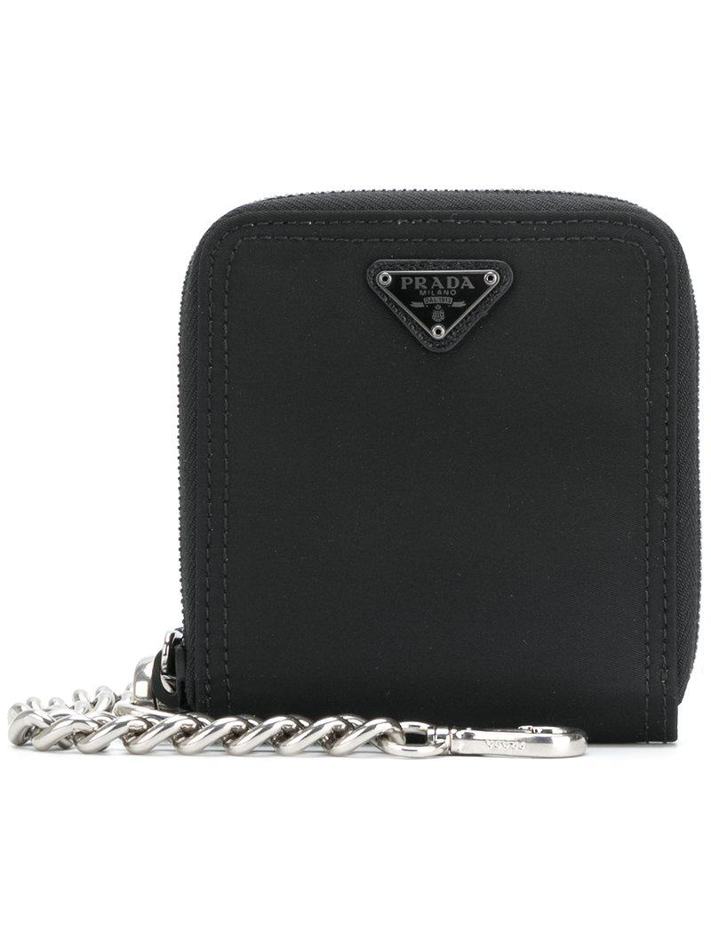 e54b3bdbd0d ... shop prada saffiano chain wallet in black for men lyst abe18 f25b4