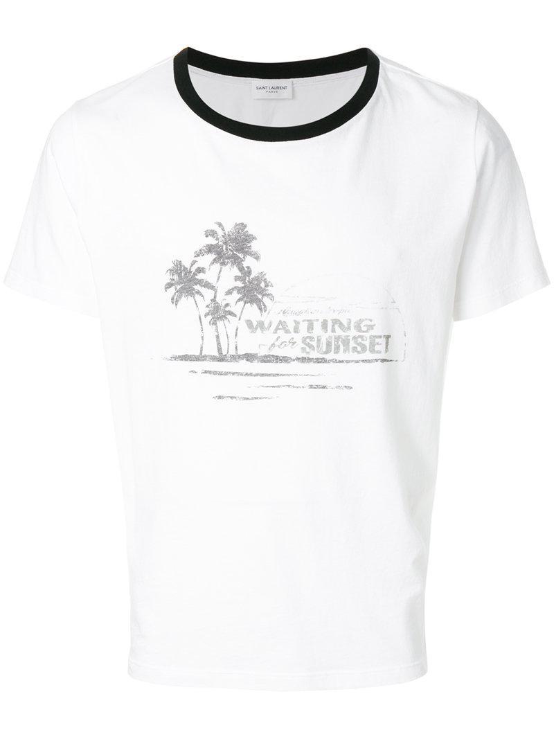 5cc541f4f309 Lyst - Saint Laurent Distressed-effect Printed Ringer T-shirt in ...