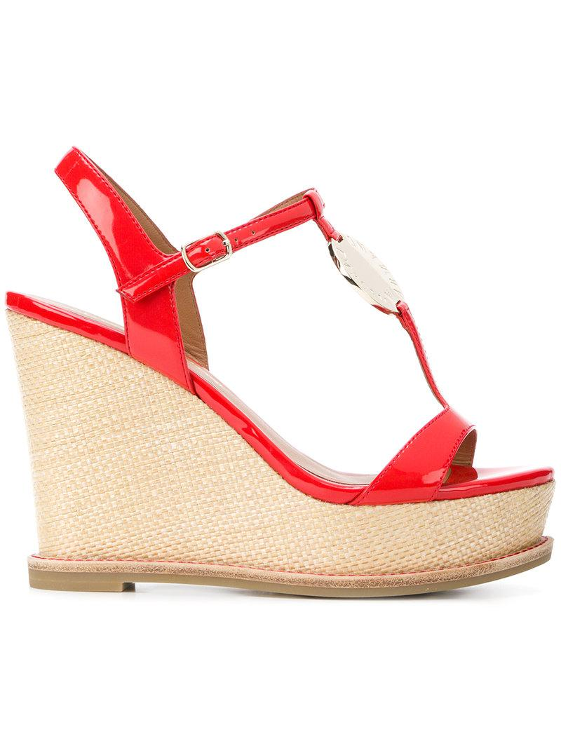 76878245c786 Lyst - Emporio Armani Strappy Wedge Sandals in Red