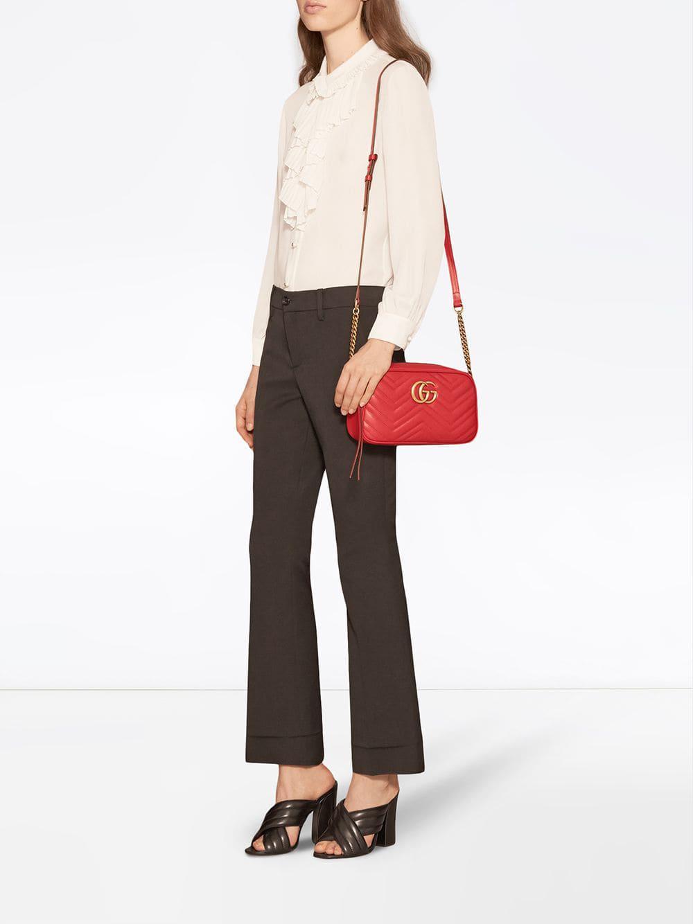 Gucci - Red GG Marmont Small Matelassé Shoulder Bag - Lyst. View fullscreen d2f4b64a3a