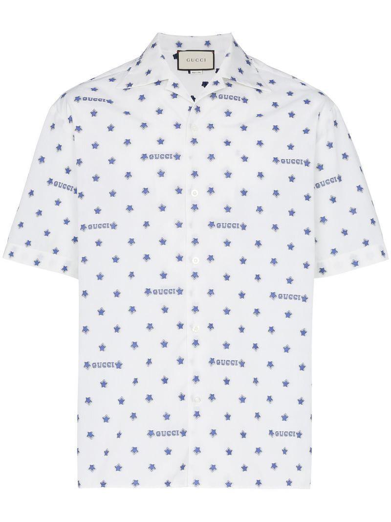 43bde3bf1fcf Gucci - White Star And Logo Print Cotton Shirt for Men - Lyst. View  fullscreen