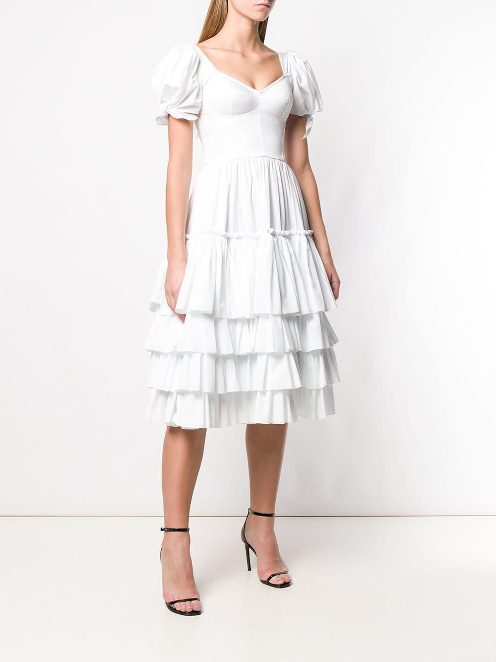 584aa535775 Dolce   Gabbana - White Ruffled Poplin Dress - Lyst. View fullscreen