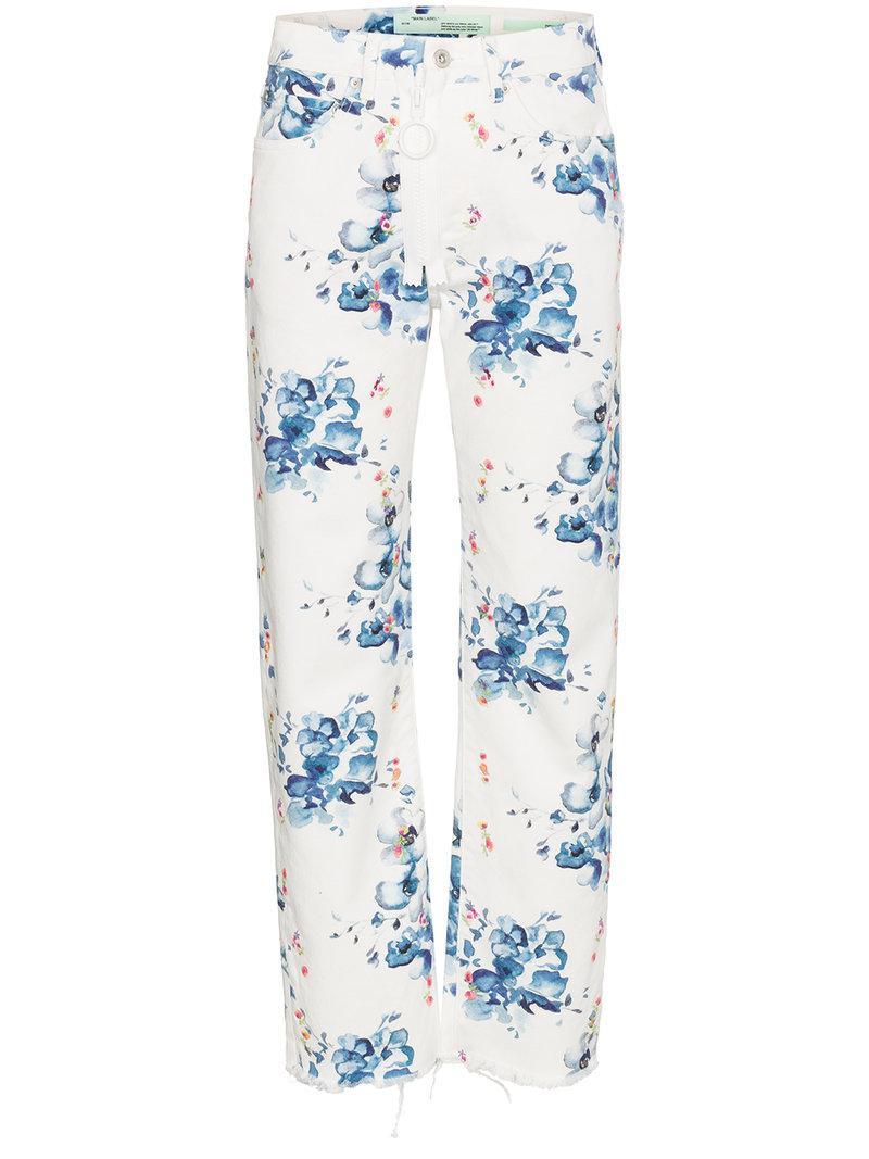 808620768a29 Off-White c o Virgil Abloh. Women s White X Browns Floral Print Straight  Denim Jeans