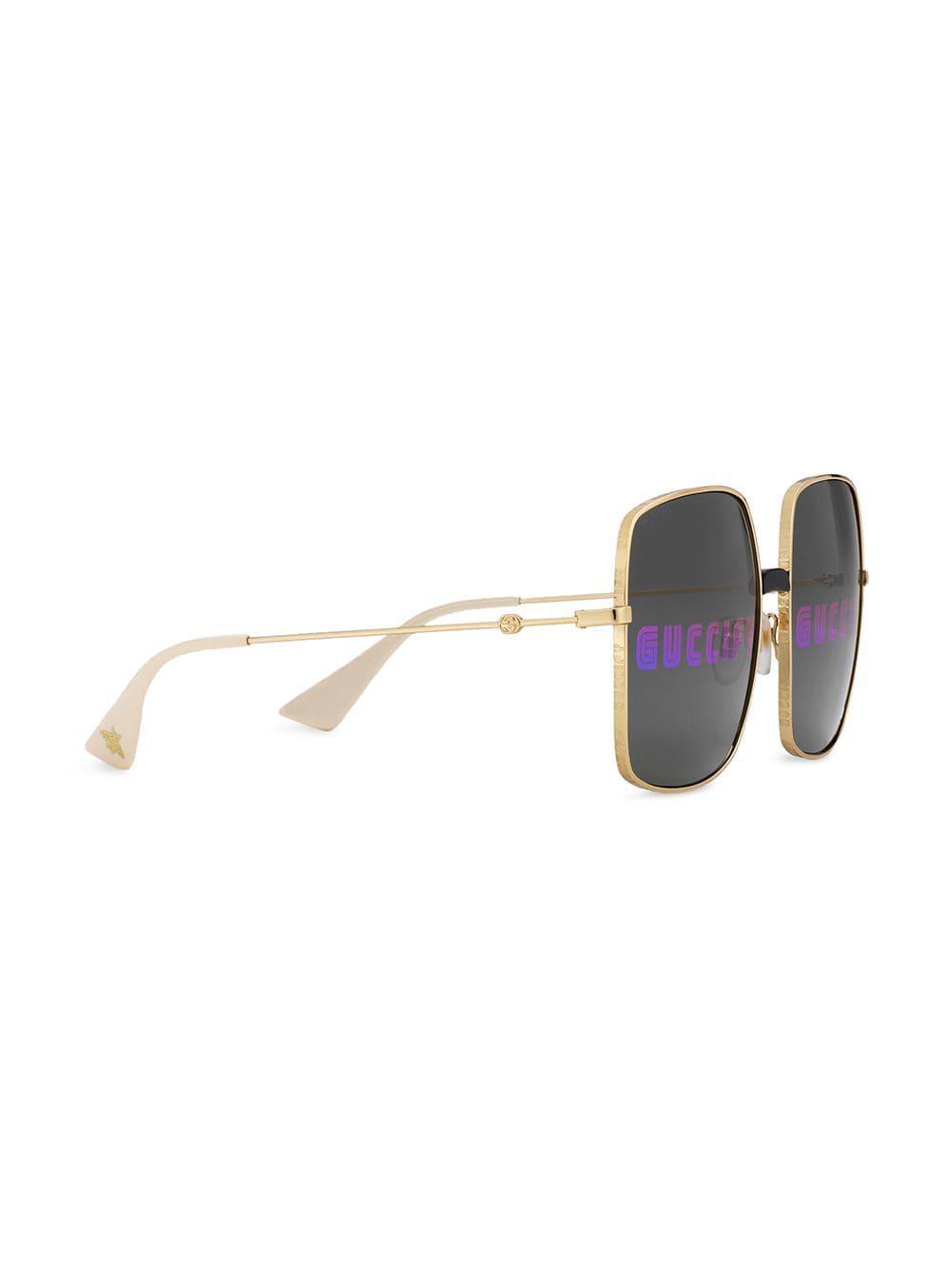 4617ae4744598 Lyst - Gucci Rectangular-frame Sunglasses in Metallic - Save  29.243697478991592%